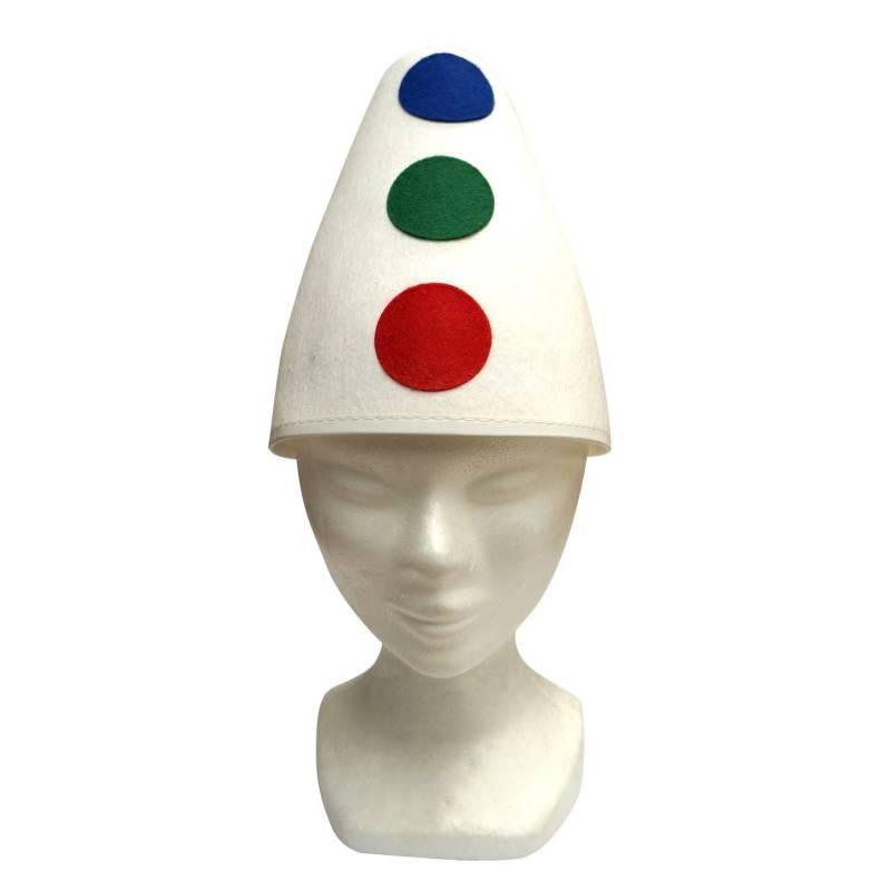 Chapeau de clown blanc avec pois rouges, verts et bleus