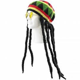 Perruque dreadlocks avec chapeau rasta Jamaïque