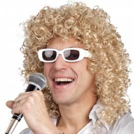 Perruque bouclée blonde avec lunettes