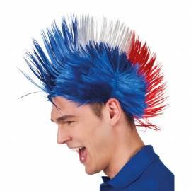Perruque bleu blanc rouge punk supporter équipe de France