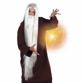 Perruque blanche très longue avec une longue barbe blanche