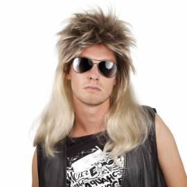 Perruque longue, ébouriffé sur le dessus, blond brun des années 80