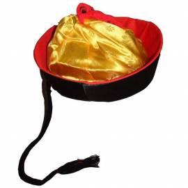 Chapeau mandarin, noir,rouge et or