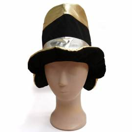 Chapeau haut de forme mou noir or et argent pour adulte