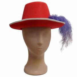 chapeau mousquetaire de couleur avec fin ruban blanc