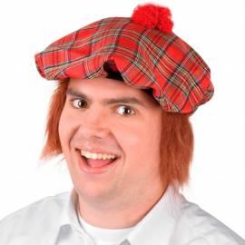 Béret écossais rouge avec faux cheveux roux à l'arrière
