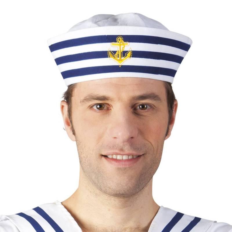 chapeau marin avec bandes bleues et ancre jaune