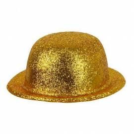 Chapeau melon à paillettes dorées