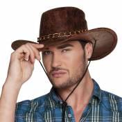 Chapeau de cow-boy marron en cuir craquelé avec chainette