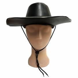 chapeau cow boy en cuir noir adulte