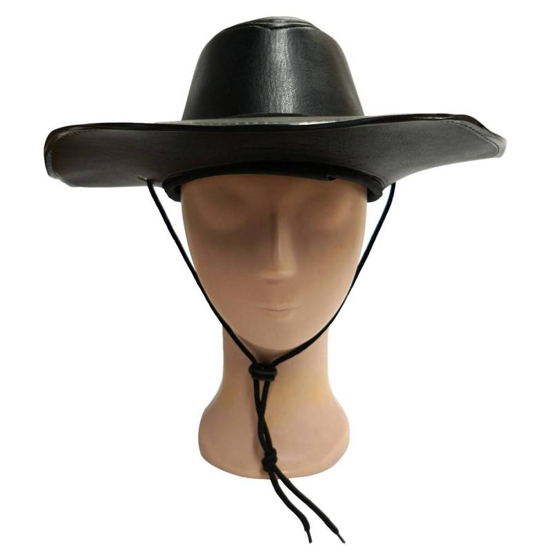 chapeau cow boy en cuir noir adulte