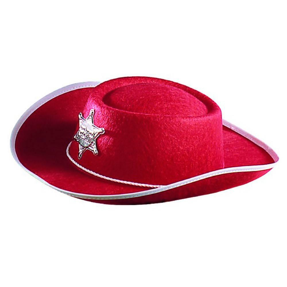 0a1218d95c3 Chapeau de cow-boy rouge avec étoile de shérif