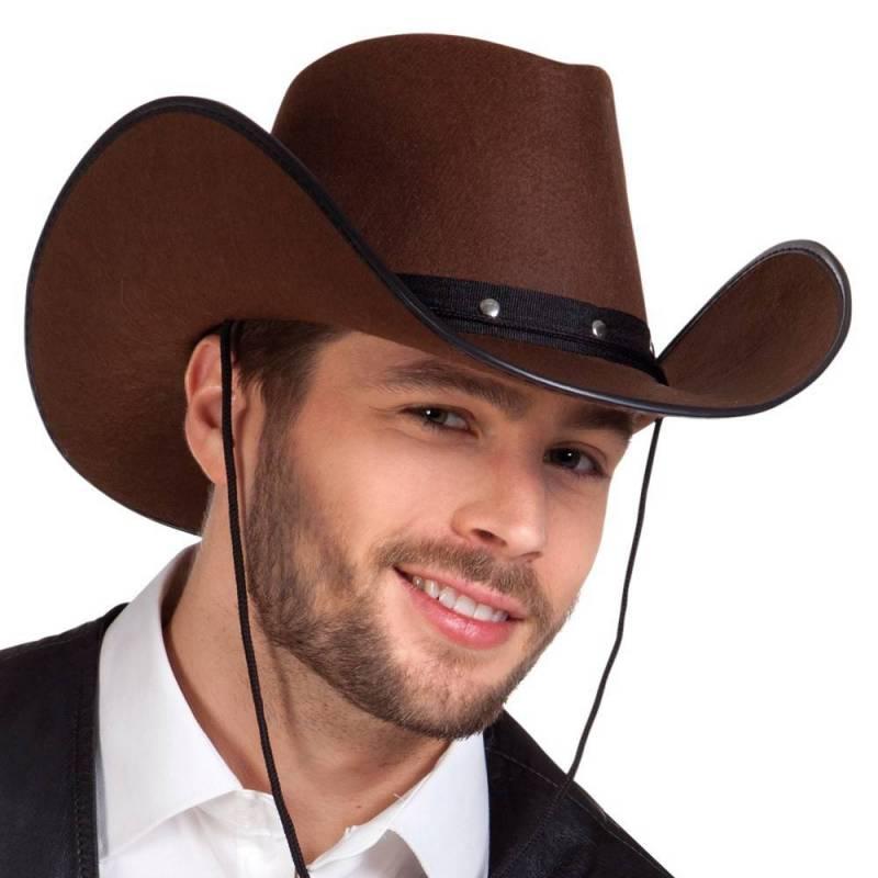 eacc5783640 Chapeau de cow-boy marron ou noir avec ruban noir clouté à la base