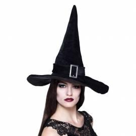 Chapeau pointu noir de sorcière avec boucle argentée