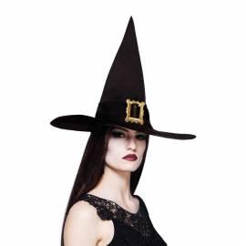 Chapeau pointu noir de sorcière avec boucle en dorée