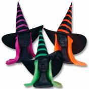 Chapeau pointu noir à rayures de couleur et avec cheveux de couleur