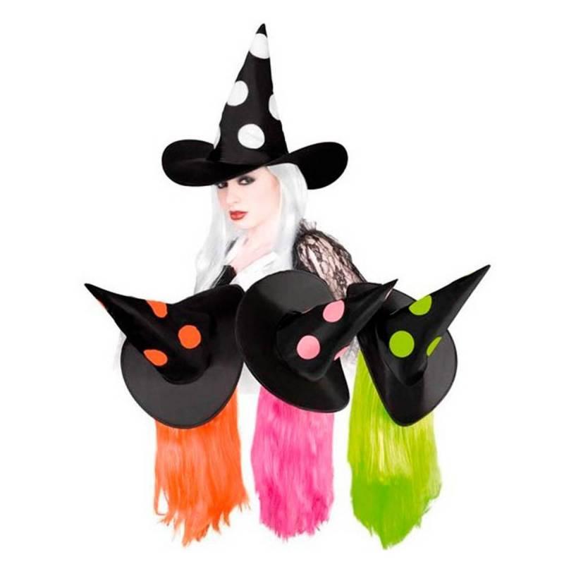 Chapeau pointu noir, de sorcière avec pois de couleur et cheveux assortis