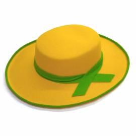 Chapeau jaune avec un ruban et bord vert