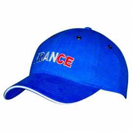 """Casquette bleue avec """"France"""" en bleu blanc rouge"""