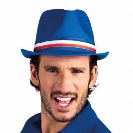 Trilby (Borsalino) bleu avec bande tricolore
