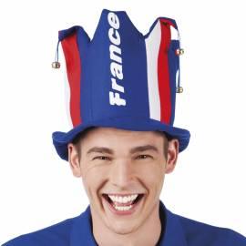 """Chapeau de joker tricolore avec """"France"""" écrit en blanc"""