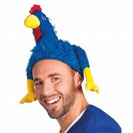 Chapeau de supporter en forme de coq bleu