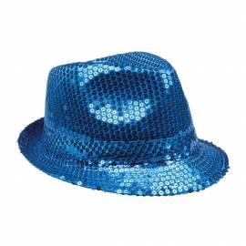 Chapeau Popstar sequins de couleur bleu