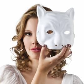Masque blanc de chat à décorer, en plastique