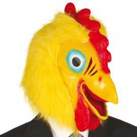 Masque en latex de coq avec de la fausse fourrure jaune