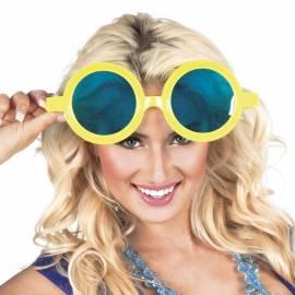 Lunettes géantes, rondes, à monture jaune et verres bleus