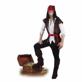 Déguisement adulte de pirate blanc, noir et rouge