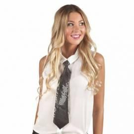 Cravate de couleur à paillettes rondes transparentes
