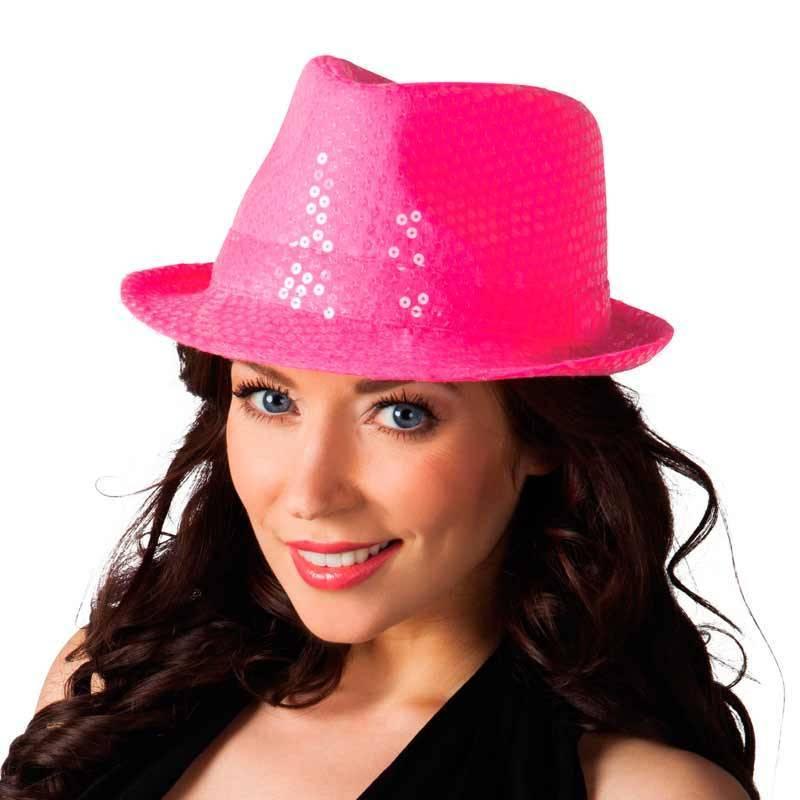 Chapeau Popstar sequins de couleur rose fluo