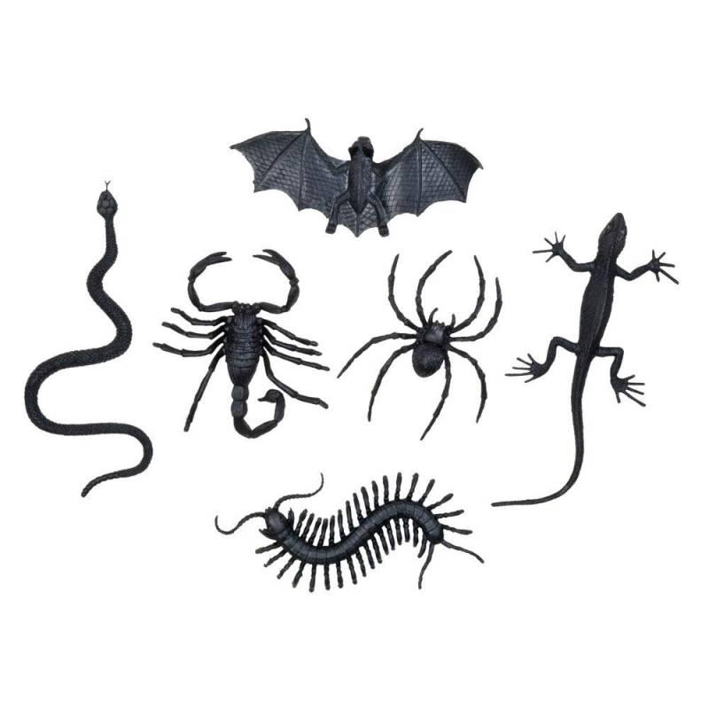 Lot de 6 animaux - insectes noirs en plastique