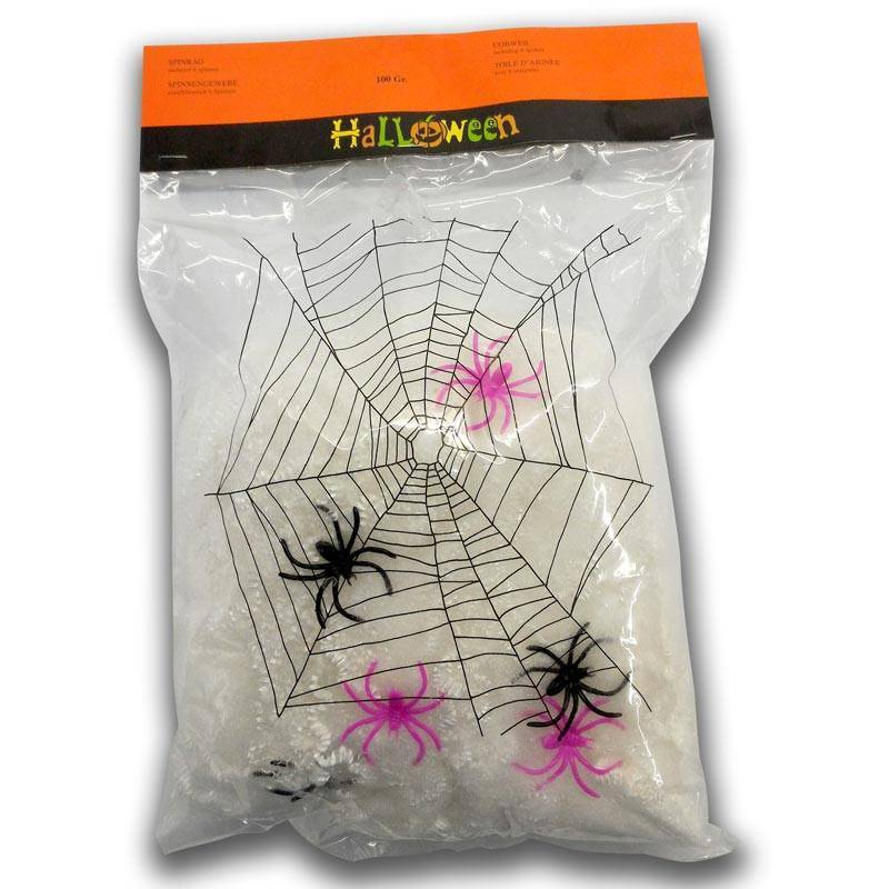 6 petites araignées et 1 toile d'araignée