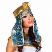Couronne de reine égyptienne bleu turquoise et or