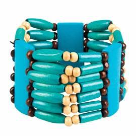 Large bracelet indien en perles turquoises, noires et blanches