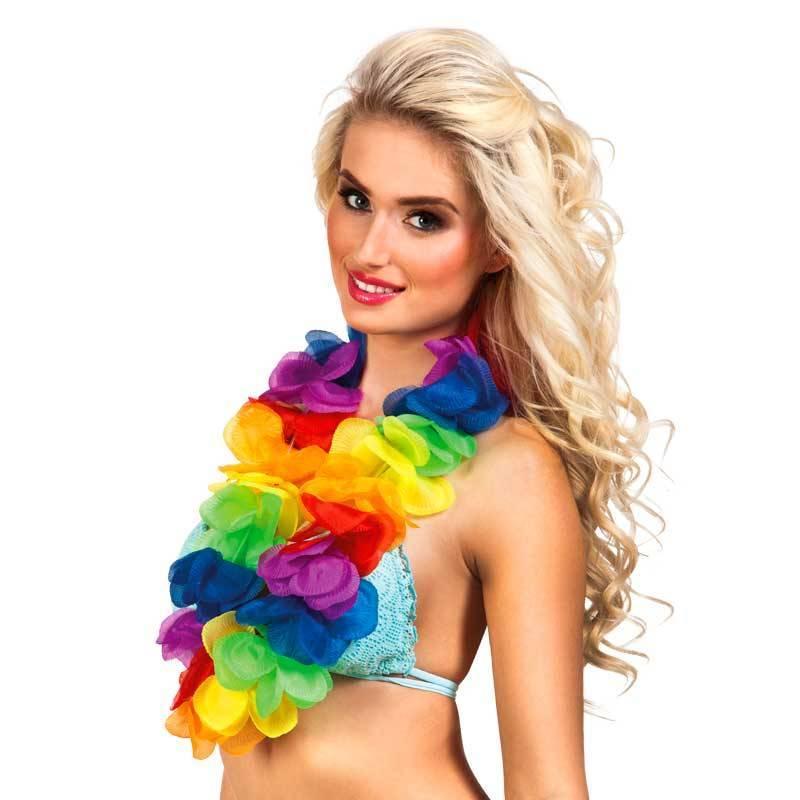 Collier hawaïen de fleurs multicolores