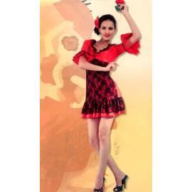 Robe danseuse de flamenco adulte rouge et noire