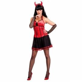 Déguisement diablesse avec robe rouge et noire, manchons et cornes halloween