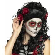 Perruque noire pour femme avec roses rouge
