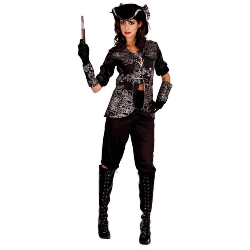 d05fdd83c8cf2 Déguisement adulte de femme pirate, noir à motifs blancs. Loading zoom