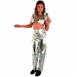 Deguisement argente chanteuse enfant disco