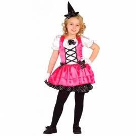 Deguisement enfant de petite sorcière rose et noir
