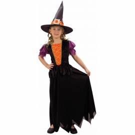 Deguisement enfant de sorcière noire, orange et violet