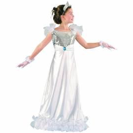 Déguisement enfant de princesse en robe blanche à paillettes